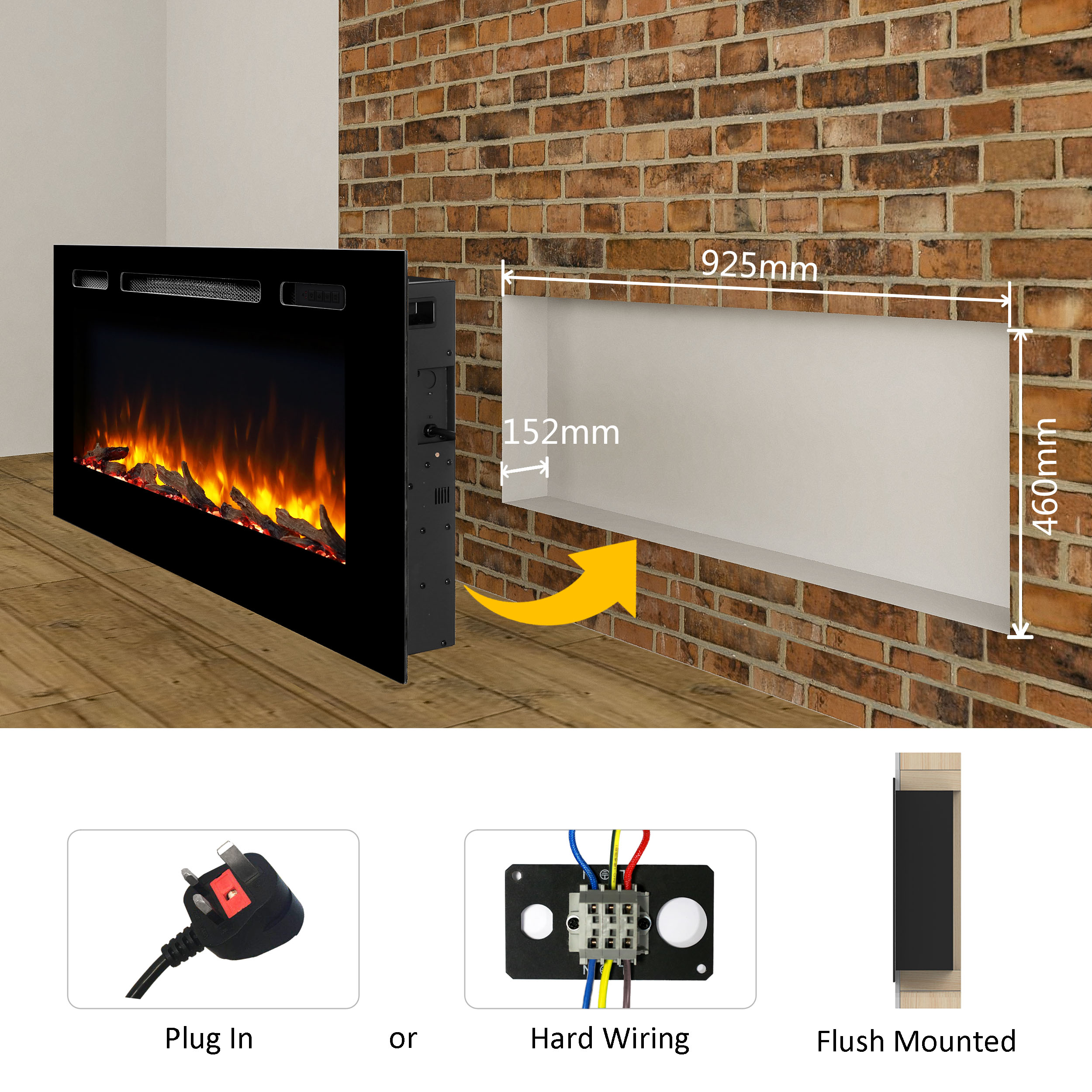 Hawnby Recessed Electric Fire 220 240vac 1 2kw Log Set Crystal
