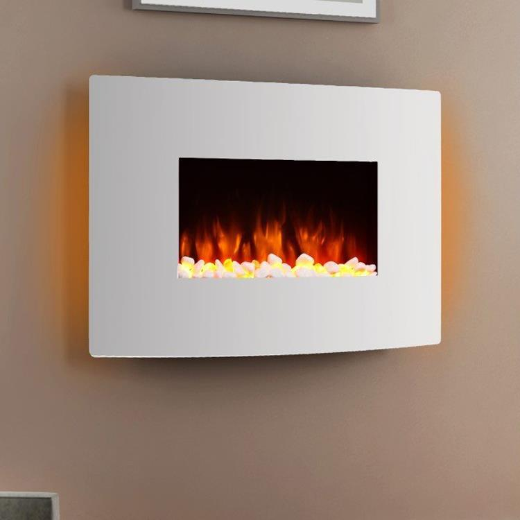 Egton White Wall Mounted Electric Fire Endeavour Fires And