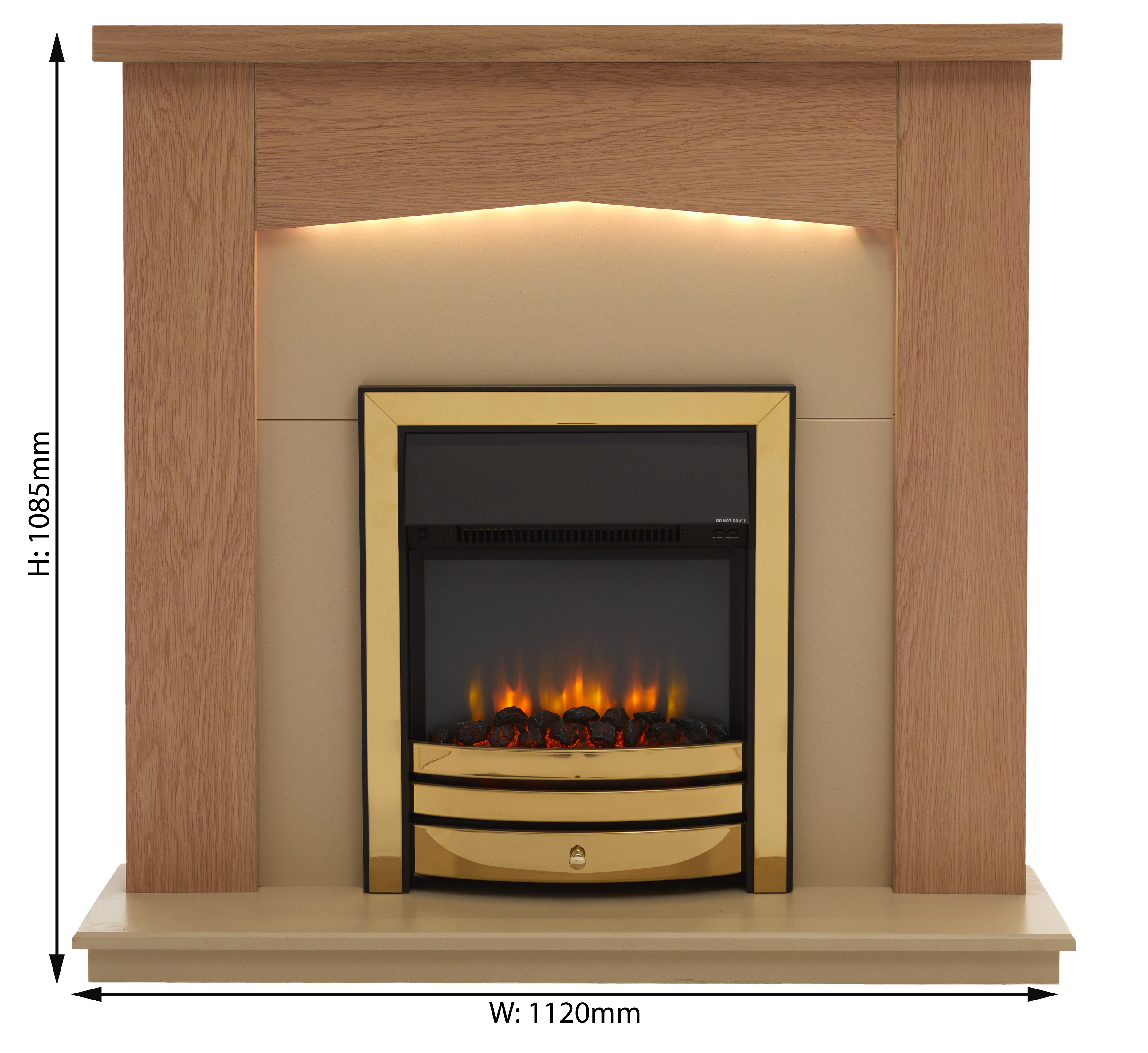 E122SVoltage 220/240Vac 50hz 1 and 2 kW.Colour - MDF Fireplace- wood effect, Fire- Black/Brass/Chrome.Dimensions: H 1085mm x W 1120mm x D 320mm.Remote control functions - Off/On, flame effect, mood lighting, heater, thermostat, timer.One-year manufacturer's guarantee.